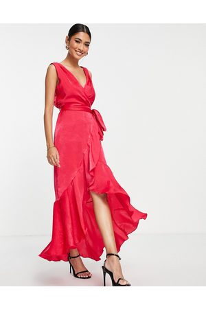 Flounce London Satin wrap front midaxi dress in hot pink