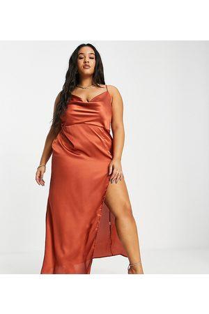 Saint Genies Cowl front satin maxi dress in rust-Orange
