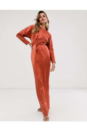 ASOS Satin maxi dress with batwing sleeve and wrap waist in rust-Orange