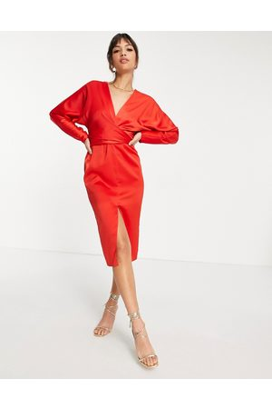 ASOS Satin midi dress with batwing sleeve and wrap waist in red