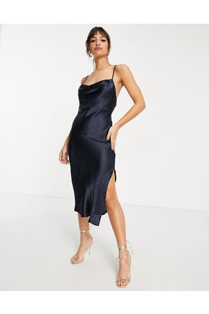 ASOS Cami midi slip dress in high shine satin with lace up back in navy
