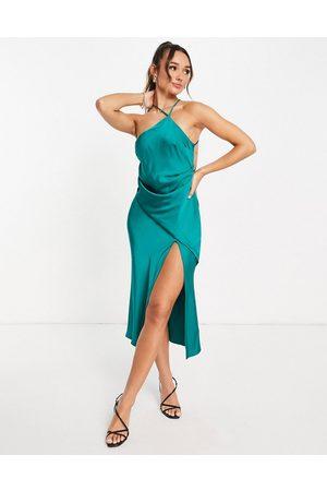 ASOS Mulher Vestidos de Festa - One shoulder satin midi dress with drape bodice detail in green