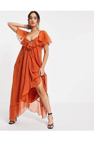 ASOS Mulher Vestidos de Festa - Ruffle midi dress with lace up front and adjustable waist detail in rust-Brown