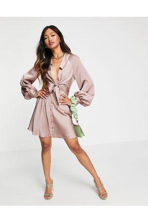 ASOS Tie front satin mini shirt dress in pink-Brown