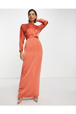 ASOS Satin maxi dress with batwing sleeve and wrap waist in rust-Brown