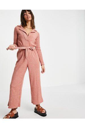 ASOS Fluffy rib collar tie waist jumpsuit in soft rust-Brown