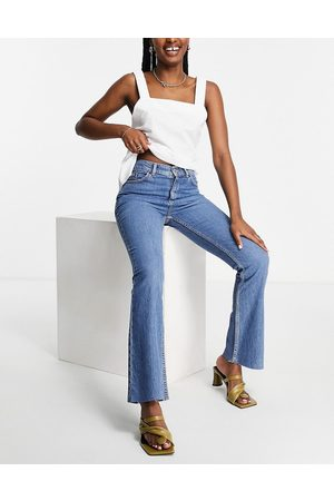 ASOS High rise '70's' stretch flare jeans in midwash-Blue