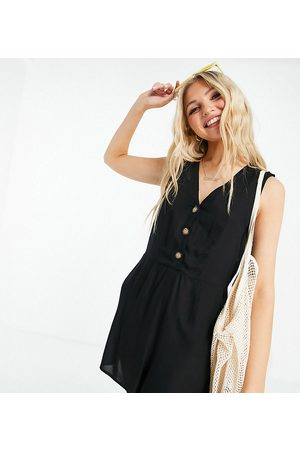 Pieces Exclusive button front playsuit in black