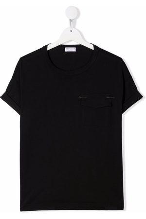 Brunello Cucinelli Menina T-shirts & Manga Curta - Chest flap-pocket T-shirt