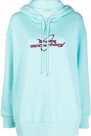 Stella McCartney Mulher Camisolas com capuz - Logo-print long-sleeve hoodie