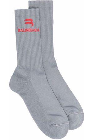 Balenciaga Intarsia-knit logo Abstract tennis socks