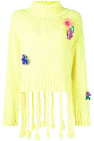 MIRA MIKATI Crochet Flowers Turtleneck Sweater