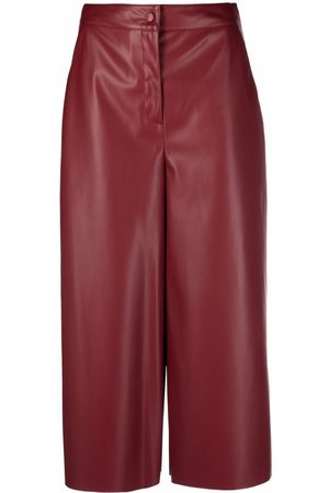 ..,MERCI Cropped faux-leather trousers
