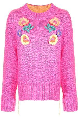 Mira Mikati Crochet Flower Knitted Sweater