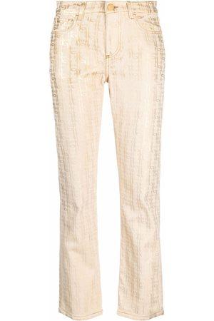 Pinko Mid-rise monogram-print straight jeans