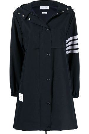 Thom Browne Mulher Jaquetas - 4-Bar Stripe hooded raincoat