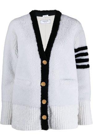 Thom Browne 4-Bar stripe shearling cardigan