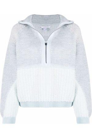 Y-3 Ribbed-knit short-zip jumper