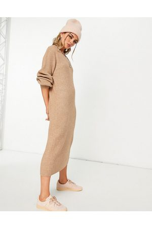 Object Maxi knitted dress in brown