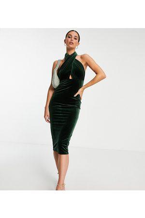 ASOS Mulher Vestidos de Festa - ASOS DESIGN Tall velvet halter cross front midi dress in khaki-Green