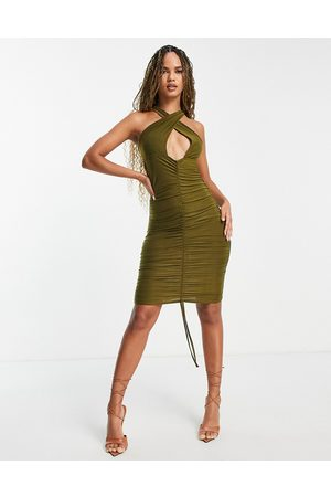 Femme Luxe Slinky wrap ruched midi dress in olive-Green