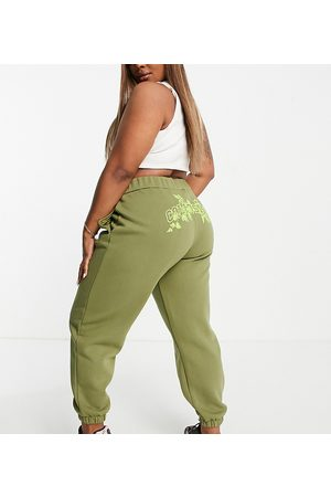 COLLUSION Plus oversized jogger with branded bum print co-ord in khaki-Green