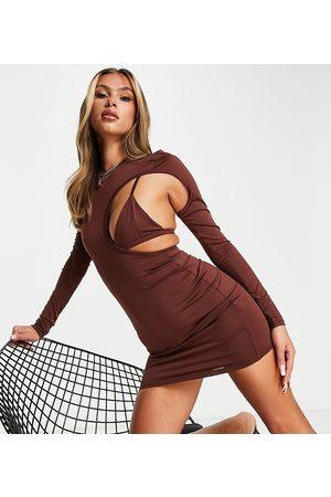 AsYou Bikini cut out mini dress in chocolate-Brown