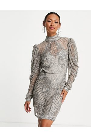 ASOS Crystal beaded mini dress with blouson sleeve in pale grey