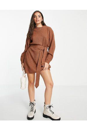 Glamorous Long sleeve mini jumper dress with tie waist in brown