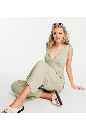 ASOS ASOS DESIGN tall button front lace trim swing jumpsuit in khaki-Green