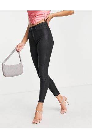 ASOS High rise ridley 'skinny' jeans in coated black