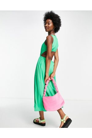 ASOS Cut out back midi dress in green