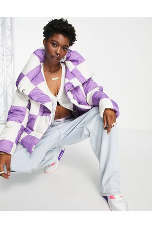 Girlfriend Material Puffer jacket with cape collar in purple checkerboard