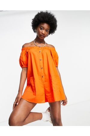 ASOS Off shoulder button through swing playsuit in tomato red