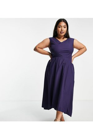 Closet High low pleated midi dress in navy
