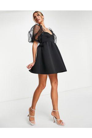 ASOS Puffed organza sleeve babydoll dress in black-Pink