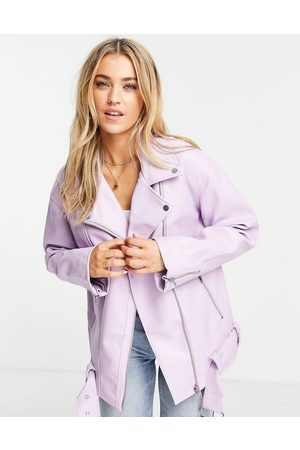 ASOS Longline oversized faux leather biker jacket in lilac-White