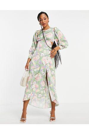 Miss Selfridge Satin lace back midi dress in floral print-Green