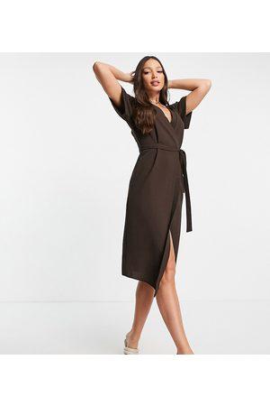 ASOS ASOS DESIGN Tall wrap midi dress in chocolate-Brown
