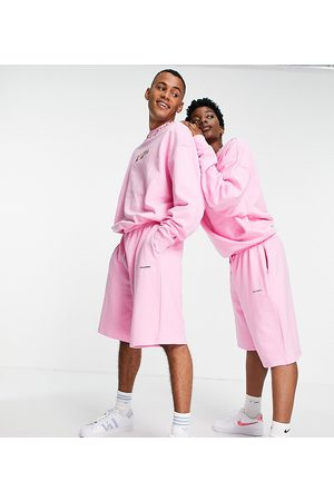 COLLUSION X EXIST LOUDLY Unisex oversized shorts with print in pink co-ord