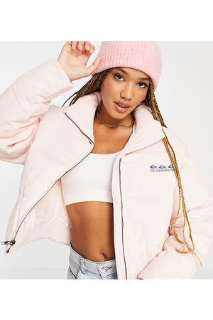 Quiksilver Cropped puffer jacket in pink Exclusive at ASOS