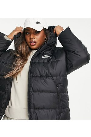Nike Plus classic padded jacket with hood in black