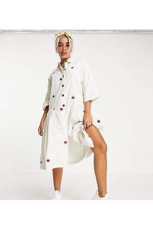 Native Youth Oversized midi smock dress with apple embroidery in cord-White