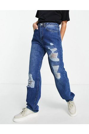 I saw it first High waist distressed baggy jean in washed blue