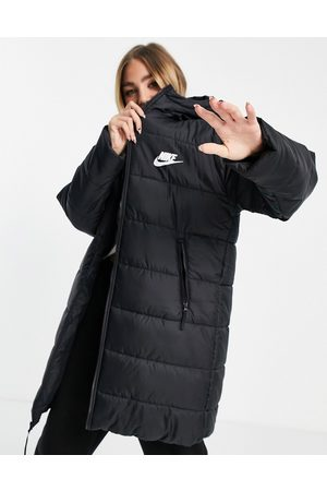Nike Classic longline padded jacket with hood in black