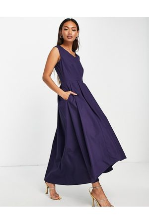 Closet V-neck high low pleated midi dress in navy