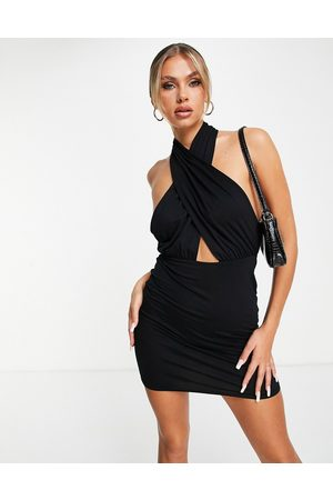 ASOS Halter cross front mini dress in black