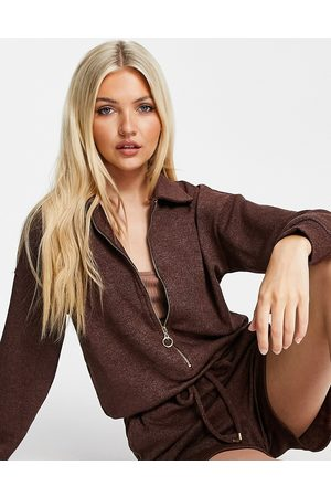 Style Cheat Collared zip up lounge playsuit in chocolate brown