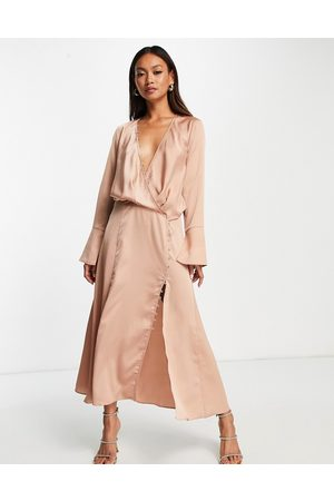 ASOS Bias cut drape midi dress with button detail in bronze-Brown