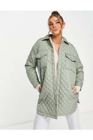 New Look Quilted shacket in sage green